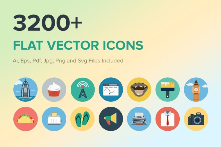 CreativeMarket 3200+ Flat Vector Icons 261088