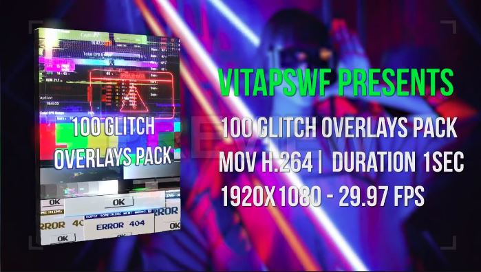 100 Glitch Overlays Pack