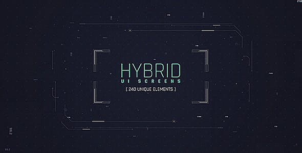 Hybrid Ui Screens/ HUD Pack/ Broadcast 240 Elements/ Digital/ Sci-fi Interface/ Technology/ Iron Man