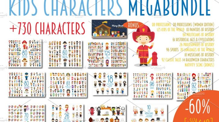 CreativeMarket MEGABUNDLE Kids Characters Sets 2381388