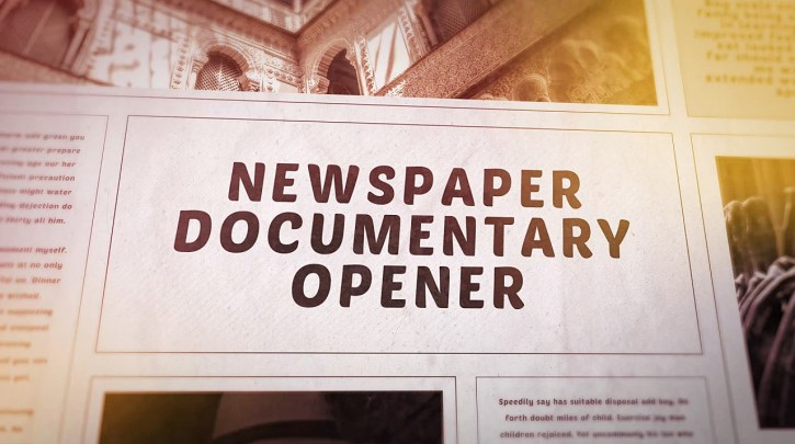 Newspaper Documentary Opener for After Effects
