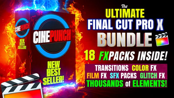 Videohive CINEPUNCH (BUNDLE) Transitions for Final Cut Pro SFX Color FX 18 PACKS Thousands of Assets 26552557