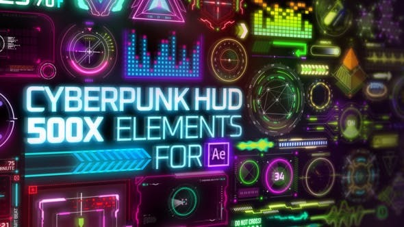 Videohive Cyberpunk HUD Elements for After Effects