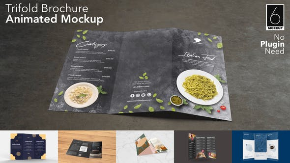 Videohive Trifold Brochure Animated Mockup Set 31032511