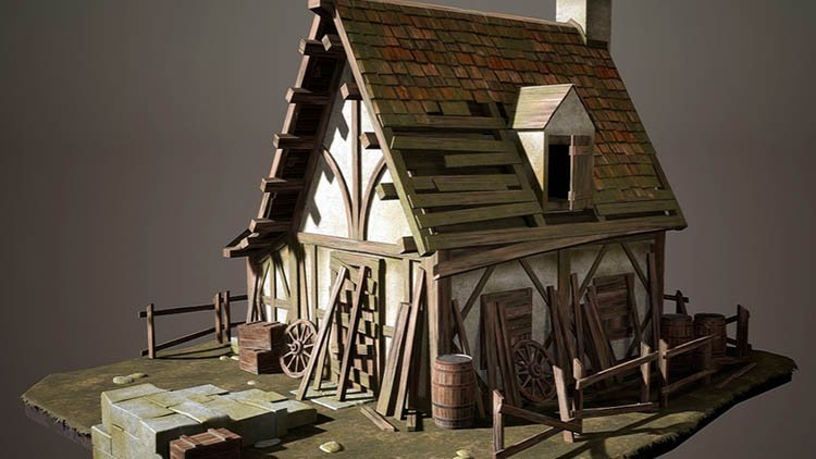 Creating a Realistic Cabin House for Game in Blender By Nexttut Education