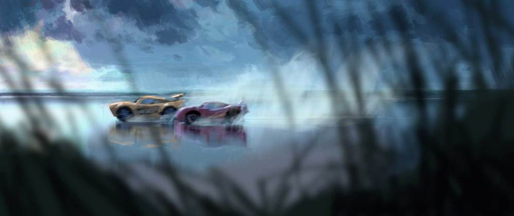 Concept art for the film shows a dynamic beach race.
