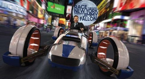 Race Through New York Starring Jimmy Fallon required extensive digital sets, complicated greenscreen shoots, motion capture and CG imagery to become a theme park ride at Universal Orlando.