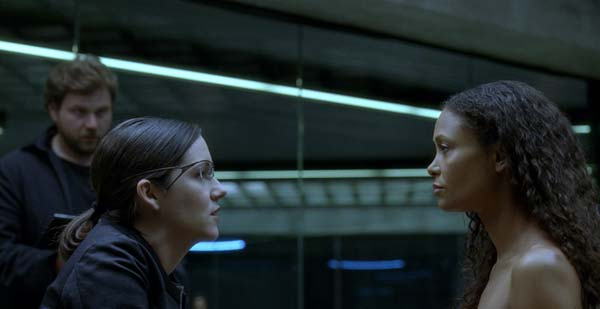 Millay is interrogated by park operator Elsie Hughes (Shannon Woodward). (Photo credit: HBO)