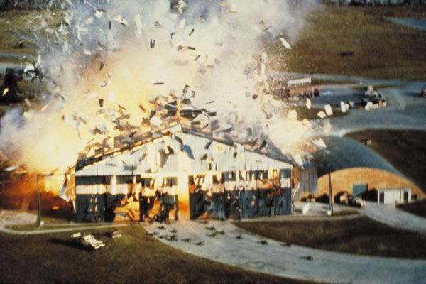 For a scene in Octopussy, a hangar was blown up on the backlot at Pinewood Studios.