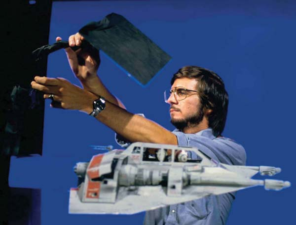 Ralston lighting one of the snow speeder ships for Star Wars: Episode V - The Empire Strikes Back.