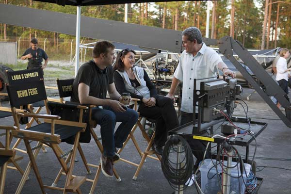 From left: Stephen Broussard, Executive Producer; Victoria Alonso, Executive Producer; and Charles Newirth, Line Producer, on set of Thor (2010).
