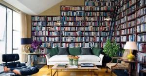 bookshelf bookshelves bookcase living study wall interior alcove designer london garden