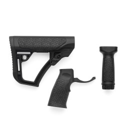 Daniel Defense Buttstock, Pistol Grip, & Vertical Foregrip Combo - Black