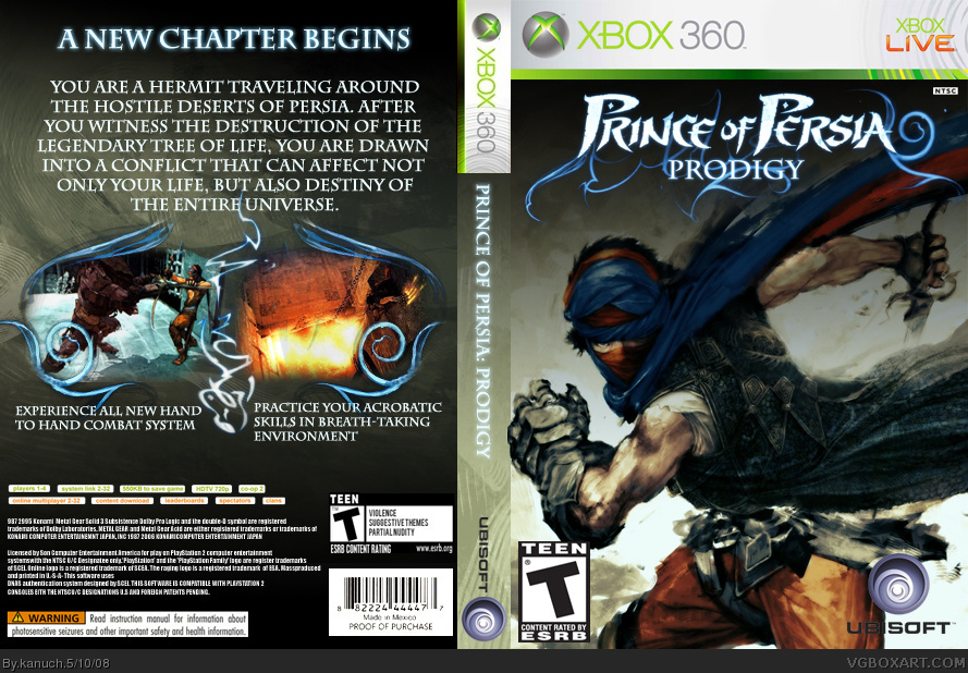 Prince Of Persia Prodigy Xbox 360 Box Art Cover By Kanuch