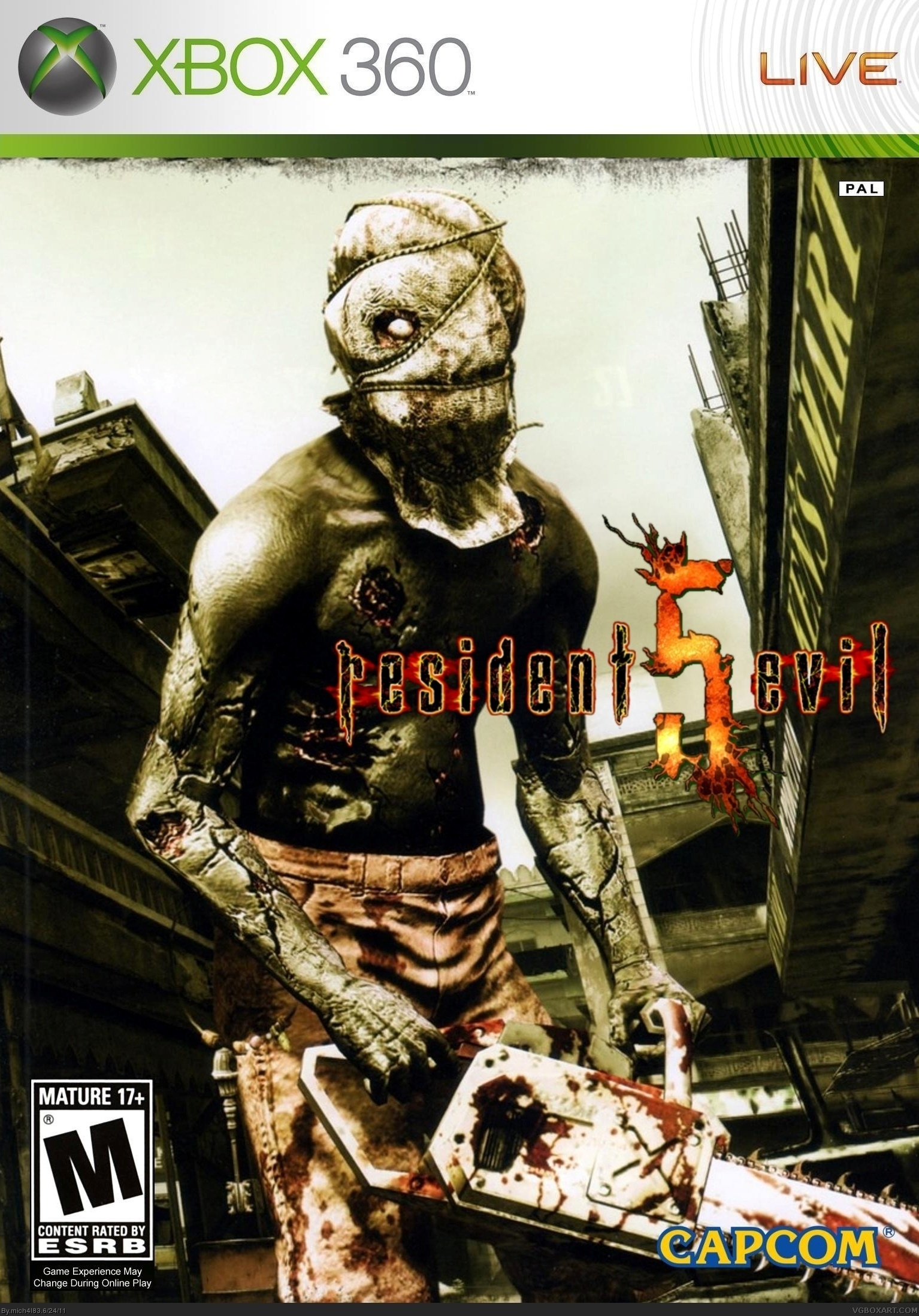 Resident Evil 5 Xbox 360 Box Art Cover by mich4l83