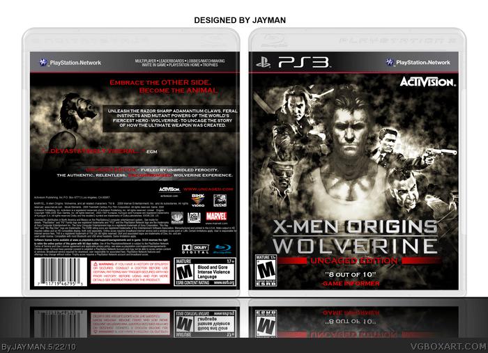 X Men Origins Wolverine PlayStation 3 Box Art Cover By JAYMAN