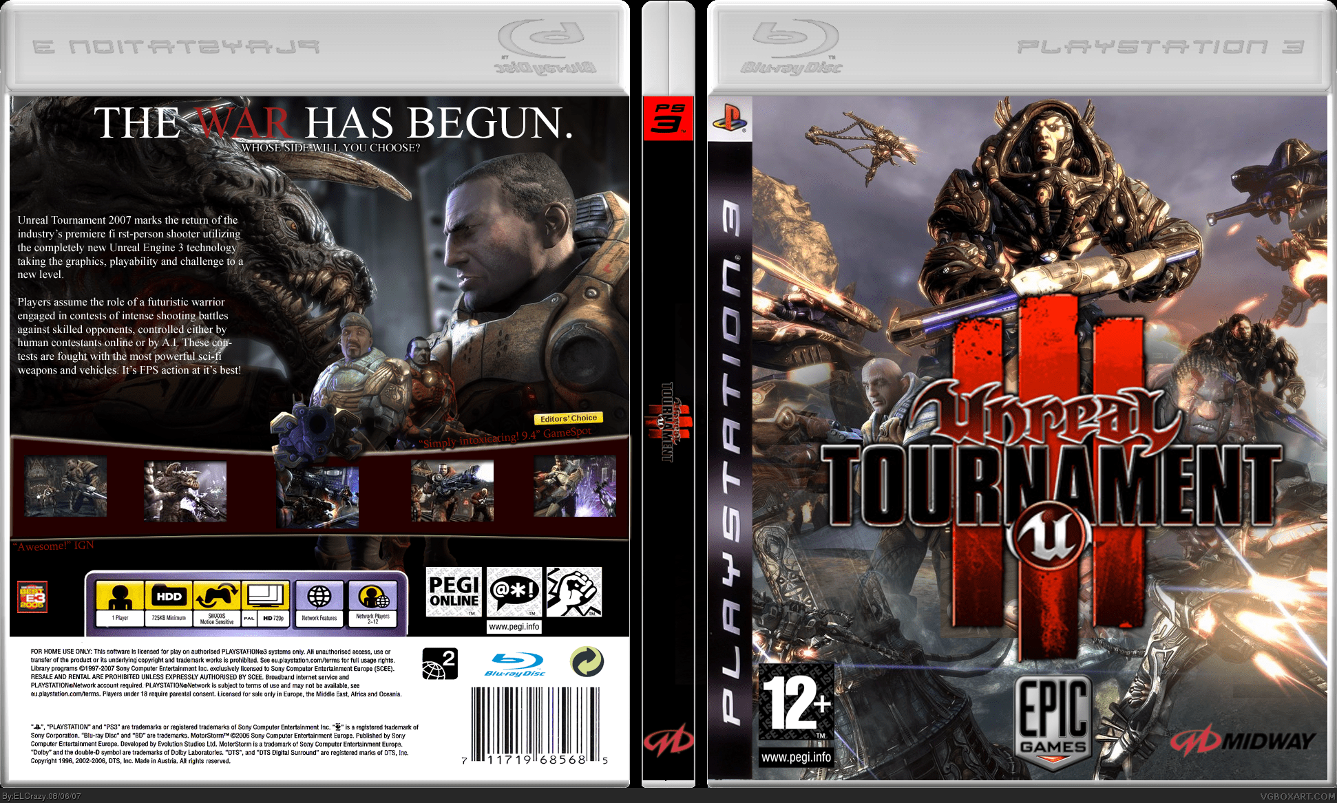 Unreal Tournament 3 PlayStation 3 Box Art Cover By ELCrazy
