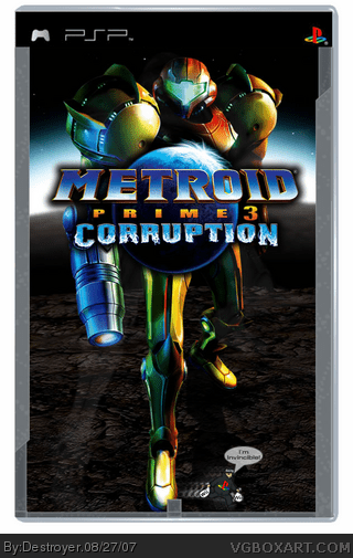 Metroid Prime 3 Corruption PSP Box Art Cover By Destroyer