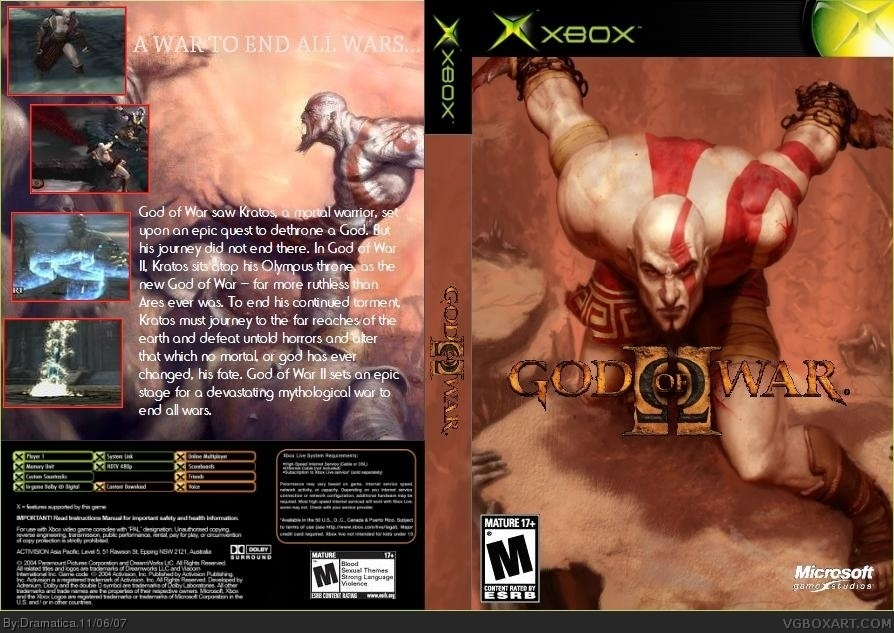 God Of War II Xbox Box Art Cover By Dramatica