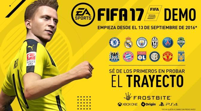 """<span class=""""entry-title-primary"""">Demo de FIFA 17 disponible a partir del 13 de Septiembre</span> <span class=""""entry-subtitle"""">Los aficionados podrán elegir al Real Madrid, Manchester United, Juventus o Tigres como uno de sus equipos favoritos para probar el demo</span>"""