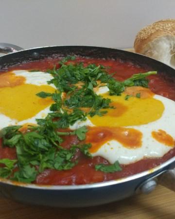 traditional Israeli shakshuka with vegan eggs
