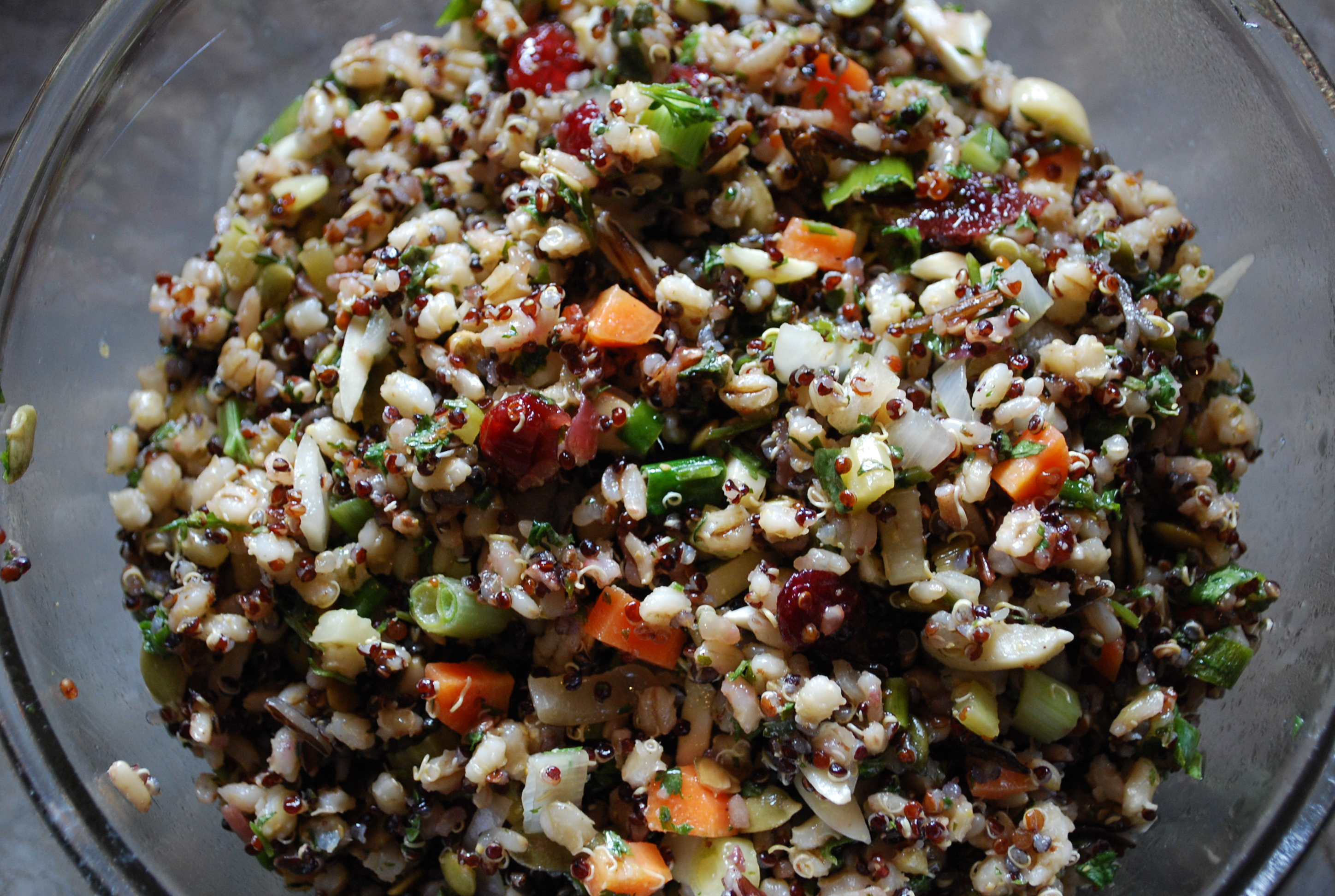 Rice Barley And Quinoa Salad With Cranberries And Nuts V
