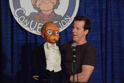 Jeff Dunham shows off a newly repaired Esky, built by the McElroys
