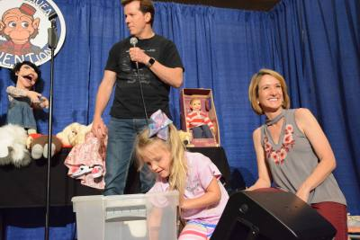 Jeff Dunham, Constance Conaughty, and Lisa Sweasy picking Raffle winners