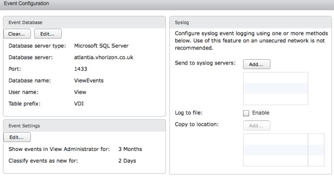 Events database configuration