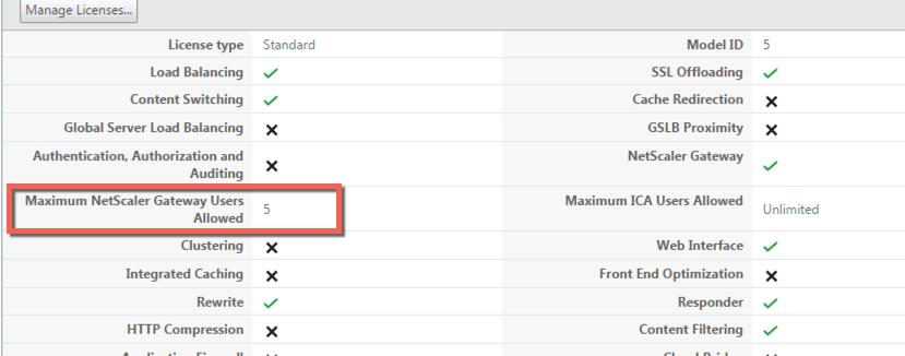 NetScaler smart access login exceeds maximum allowed users |