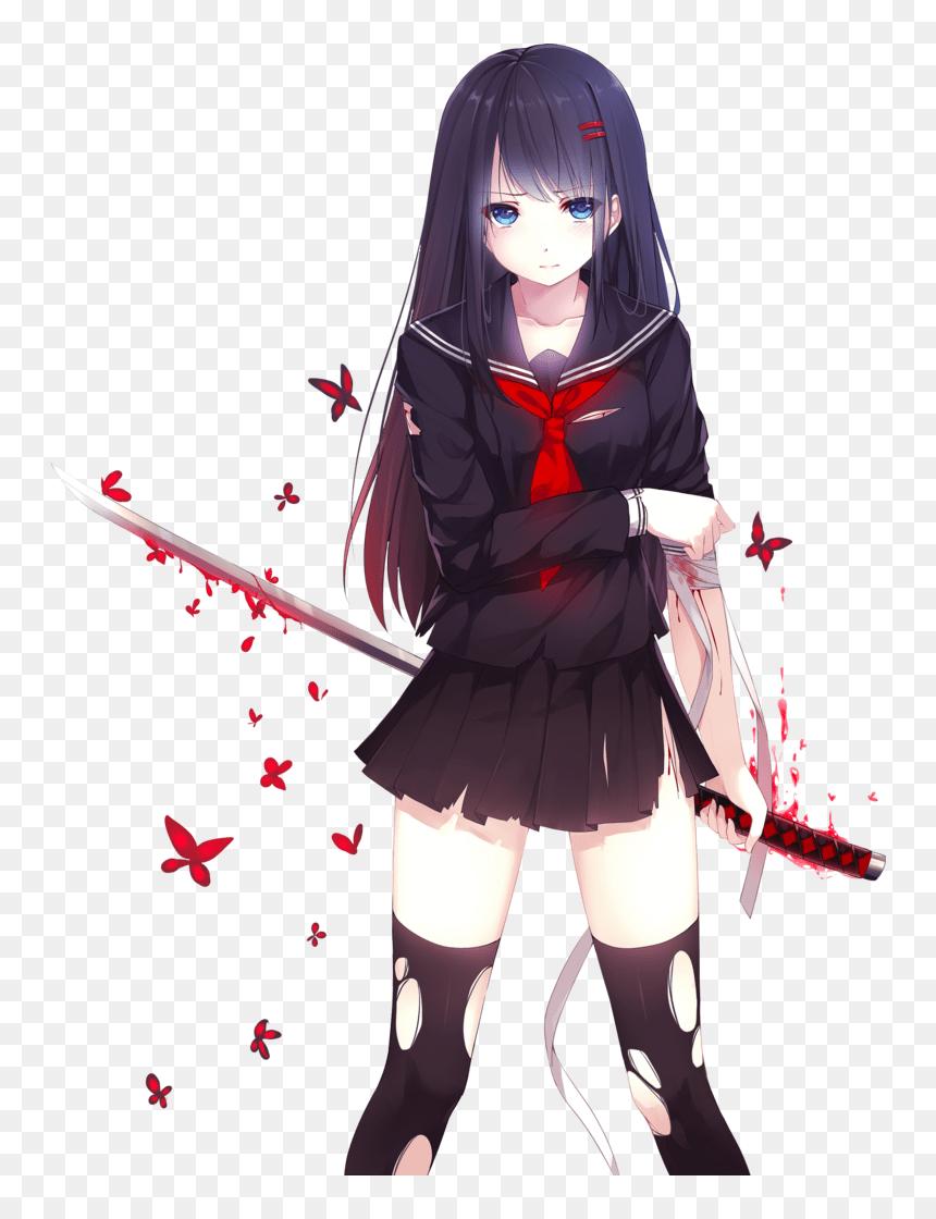 Anime Girl With Blue Eyes And Black Hair : anime, black, Thumb, Image, Black, Haired, Anime, Eyes,, Download