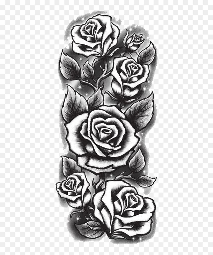Rose Tattoo Png : tattoo, Black, White, Tattoo, Drawings,, Download