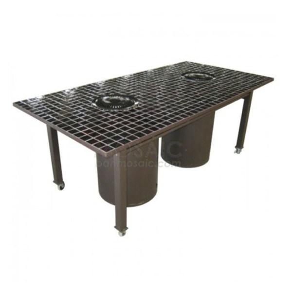 bàn nướng BBQ mặt dán mosaic hai bếp nướng bằng gas