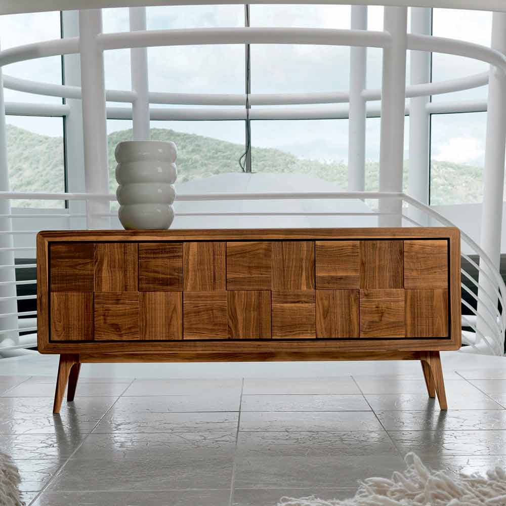 Sideboard Modern Modern Sideboard Nensi With 3 Doors In Solid Wood, Made In Italy
