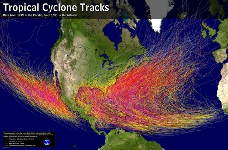 mapa furacões