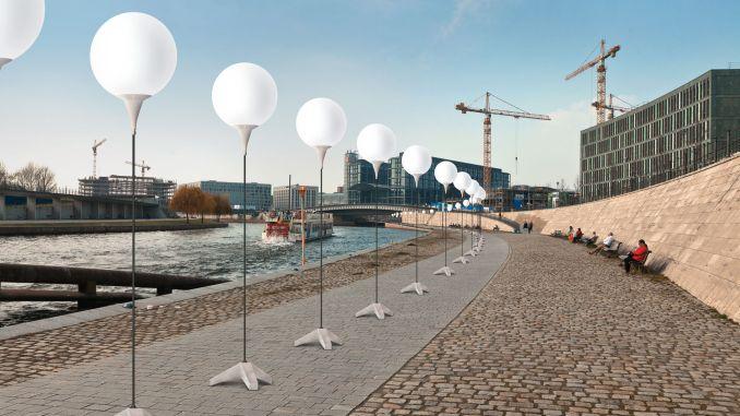 Rio Spree com instalação em comemoração aos 25 anos da queda do Muro de Berlim (foto: berlin.de / Divulgação)
