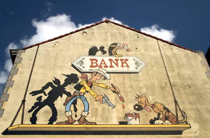 Com 180 m² , este mural homenageia o cowboy Lucky Luke, criado por René Goscinny, e é um dos maiores trabalhos do roteiro para fãs de quadrinhos, em Bruxelas, na Bélgica. Goscinny criou também o personagem Asterix (foto: Eduardo Vessoni)