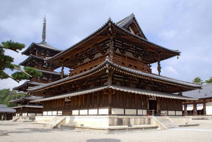 Vista do templo Horyu-ji, no Japão (foto: Wikimedia/Skyscanner)