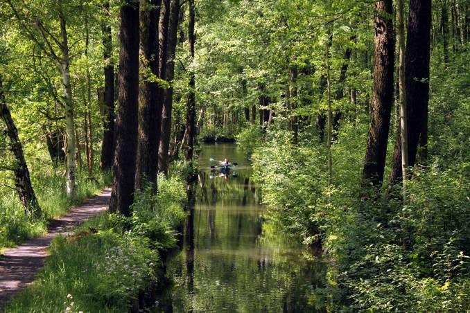 Caiaque nos canais de Lehde, a 100 km de Berlim, na Alemanha (foto: Eduardo Vessoni)