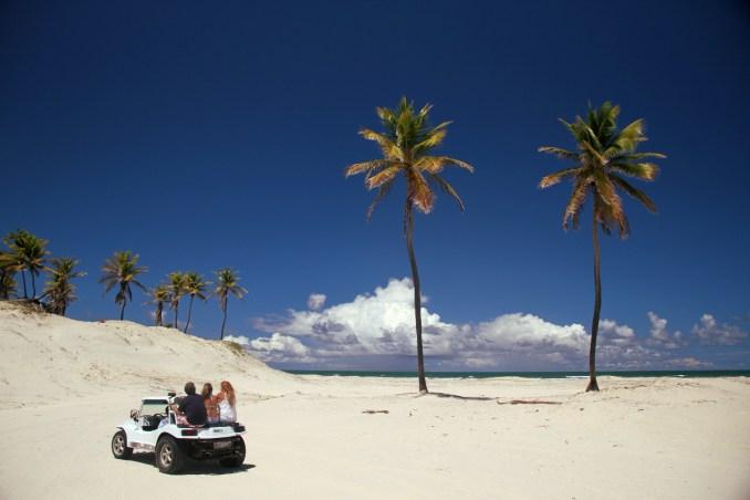 Vista da dupla de coqueiros Romeu e Julieta, em Mangue Seco, no extremo norte do litoral baiano (foto: Eduardo Vessoni)