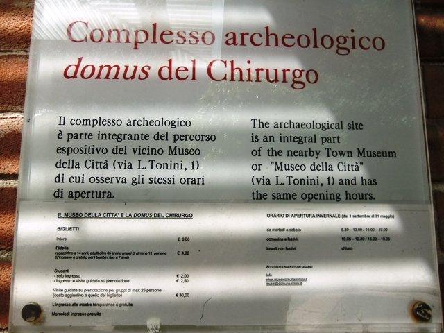 Pontos turísticos em Rimini, Itália. Domus del Chirurgo, a mini-Pompeia