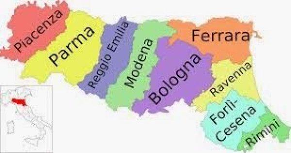 Mapa da Itália com todas as regiões. Emilia-Romagna