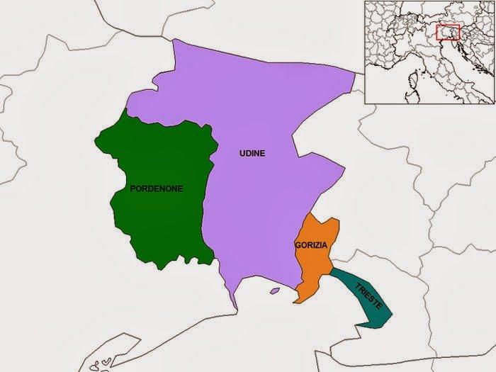 Mapa da Itália com todas as regiões. Friuli-Venezia Giulia