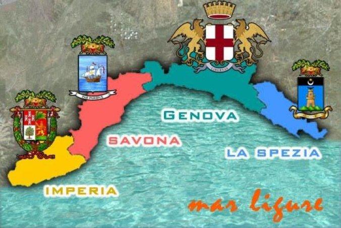 Mapa da Itália com todas as regiões. Ligúria