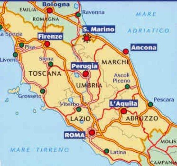 Mapa da Itália com todas as regiões. Centro da Itália