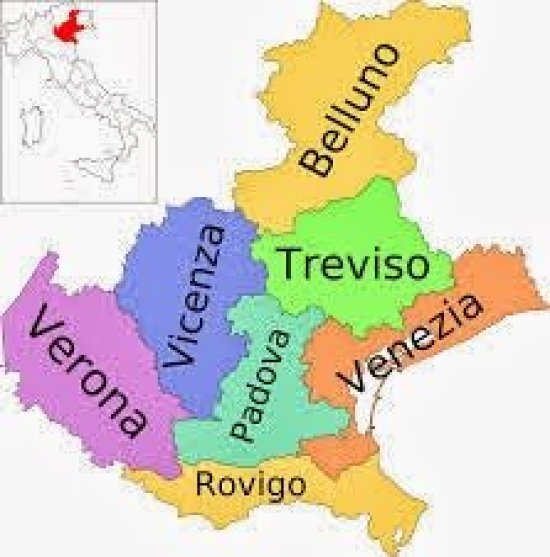 Mapa da Itália com todas as regiões. Vêneto