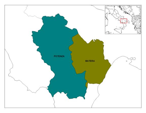 Mapa da Itália com todas as regiões. Basilicata