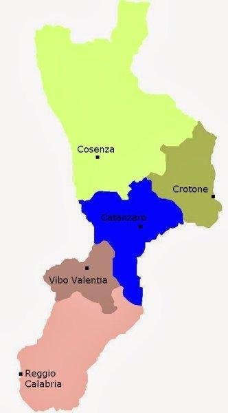 Mapa da Itália com todas as regiões. Calabria
