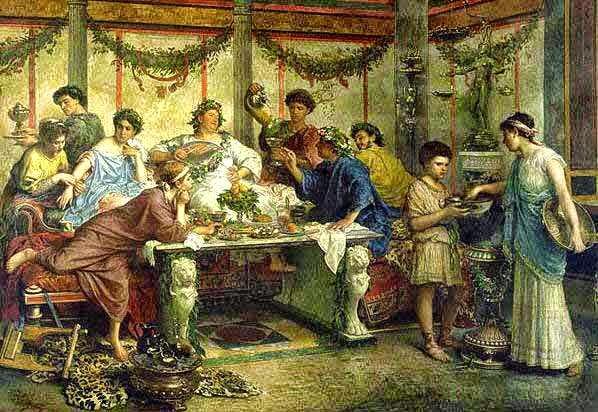 Banquete na Roma Antiga. Imagem: Wikipédia.