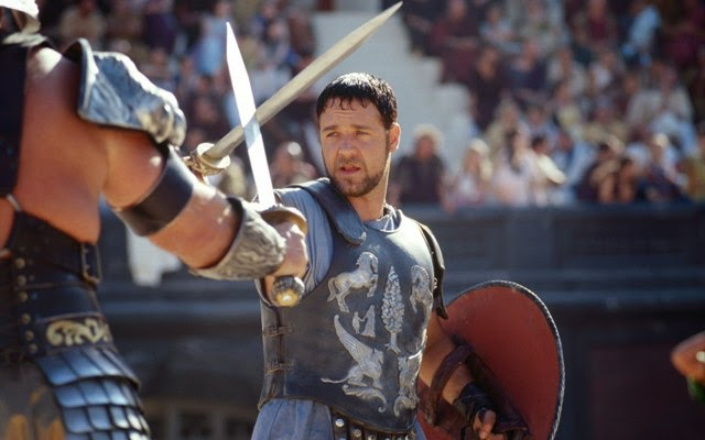 """Filme """"Gladiador"""", de Ridley Scott (2000), estrelado por Russell Crowe."""